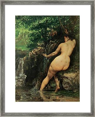 The Source Or Bather At The Source Framed Print by Gustave Courbet
