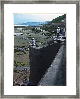 Framed Print featuring the painting The South Bay In Scarborough. by Harry Robertson
