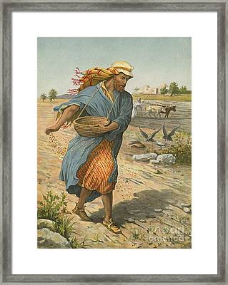 The Sower Sowing The Seed Framed Print by English School