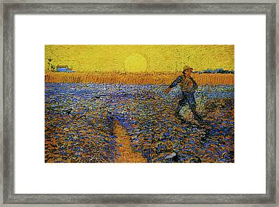 Framed Print featuring the painting The Sower by Van Gogh