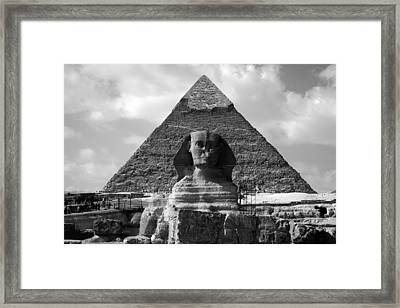 The Sphynx And The Pyramid Framed Print by Donna Corless