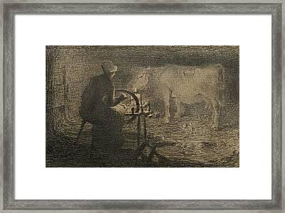 The Spinning Wheel  Framed Print by Giovanni Segantini