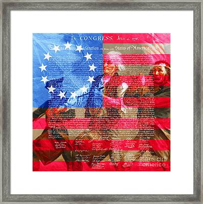 The Spirit Of 76 The American Flag And The Declaration Of Independence 20150704square Framed Print by Wingsdomain Art and Photography