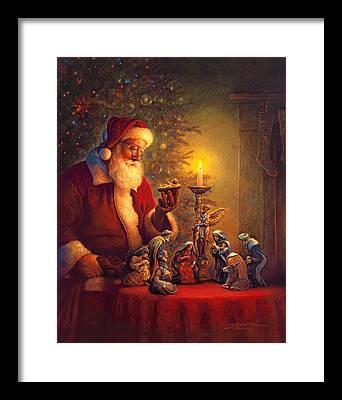 Santa Claus Paintings Framed Prints