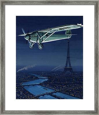 The Spirit Of St Louis Flying Over Paris Framed Print by English School