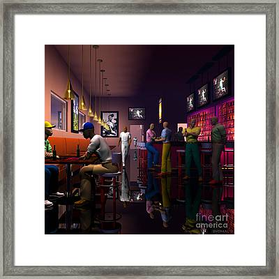 The Sport's Bar Framed Print by Walter Oliver Neal