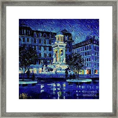 The Square Of Jacobins Illuminated - Lyon France - Modern Impressionist Palette Knife Painting Framed Print