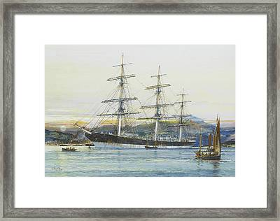 The Square-rigged Australian Clipper Old Kensington Lying On Her Mooring Framed Print