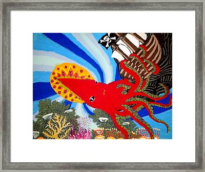 The Squid And The Pirate Ship Framed Print by Nick Reaves
