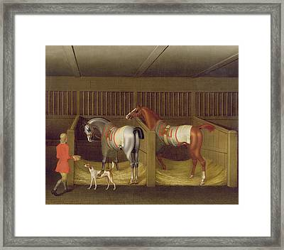 The Stables And Two Famous Running Horses Belonging To His Grace - The Duke Of Bolton Framed Print by James Seymour