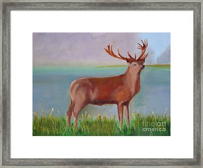 Framed Print featuring the painting The Stag by Rod Jellison