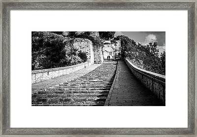 The Stairs - Paola, Italy - Black And White Street Photography Framed Print by Giuseppe Milo