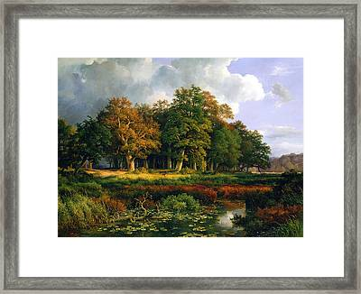 The Stangenmuhlengrund In Sachsenwald Framed Print by Adolf Vollmer