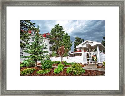 The Stanley Hotel Entrance - Estes Park Colorado Framed Print by Gregory Ballos