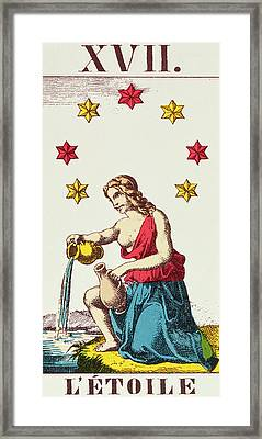 The Star  Tarot Card Framed Print by French School