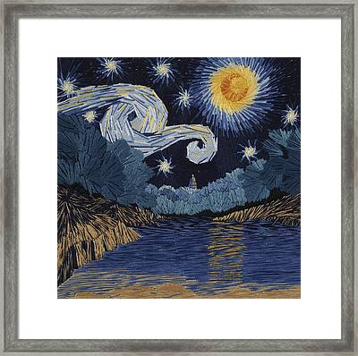 The Starry Night At Barton Springs Framed Print by Barbara Lugge