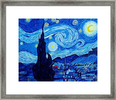 The Starry Night - Tribute To Van Gogh Framed Print