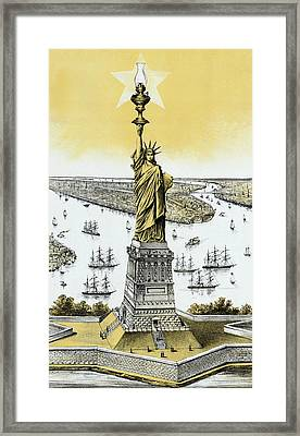 The Statue Of Liberty - Vintage Framed Print by War Is Hell Store