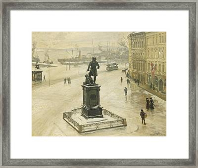 The Statue Of Tordenskiold Facing Piperviken Framed Print by Paul Fischer