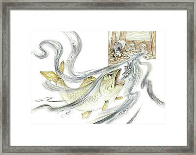 The Steadfast Tin Soldier - In Paper Boat, Pursued By Angry Rat, Hungry Fish - Illustration Framed Print by Elena Abdulaeva