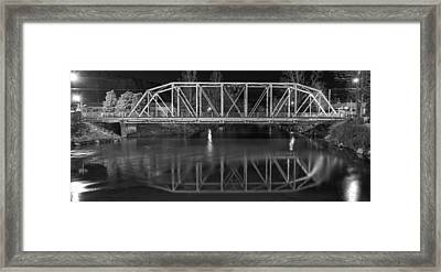 The Steel Bridge In Black And White Framed Print by Greg and Chrystal Mimbs
