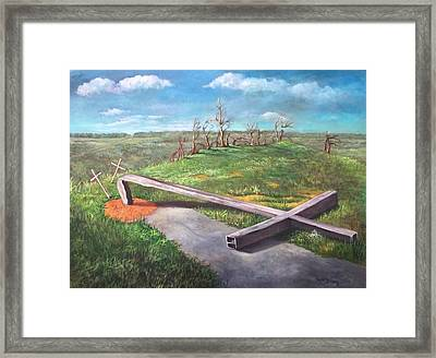 Framed Print featuring the painting Millsfield Tennessee Steel Cross by Randol Burns