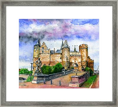 The Steen Castle Antwerp Belgium Framed Print by John D Benson