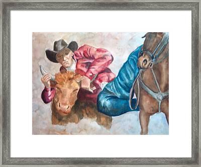 The Steer Wrestler Framed Print