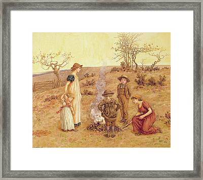 The Stick Fire Framed Print by Kate Greenaway