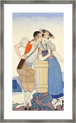 The Stolen Kiss Framed Print by Georges Barbier