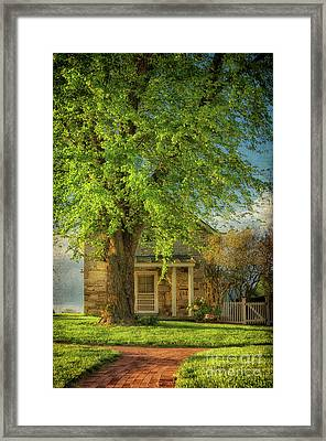 The Stone Cottage On A Spring Evening Framed Print by Lois Bryan