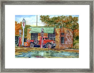 Framed Print featuring the painting The Stone Texaco by Ron Stephens