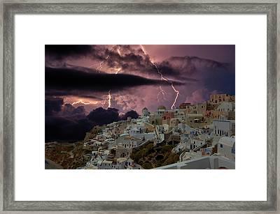The Storm In Santorini Framed Print by Yuri Hope