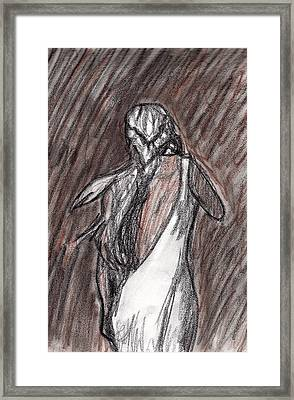 Framed Print featuring the drawing The Storm by Jean Haynes