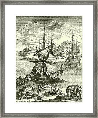The Stranding Of The Aimable, Matagorda Bay, Texas, 1685 Framed Print