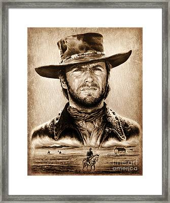 The Stranger Ye Old Wild West Edit Framed Print by Andrew Read