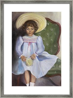 The Straw Hat Framed Print by Victoria  Shea