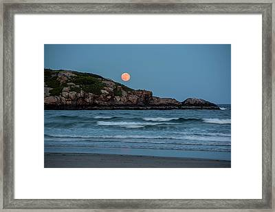 The Strawberry Moon Rising Over Good Harbor Beach Gloucester Ma Island Framed Print