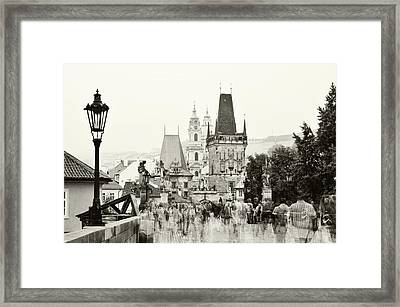 Framed Print featuring the photograph The Stream Of People On Charles Bridge. Prague by Jenny Rainbow
