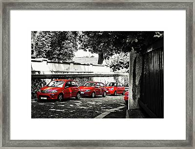 Framed Print featuring the photograph The Street Of Red Cars by Jenny Rainbow