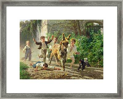 The Street Urchins Framed Print by F Palizzi