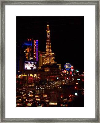 The Strip At Night 2 Framed Print by Anita Burgermeister