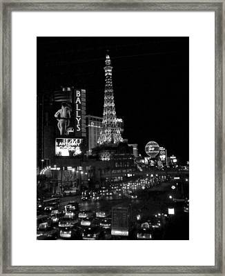 The Strip By Night B-w Framed Print by Anita Burgermeister