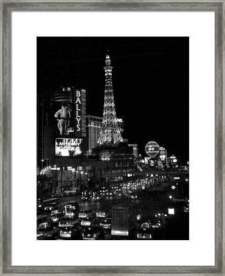 The Strip By Night B-w Framed Print