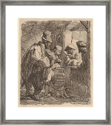 The Strolling Musicians Framed Print by Rembrandt Van Rijn