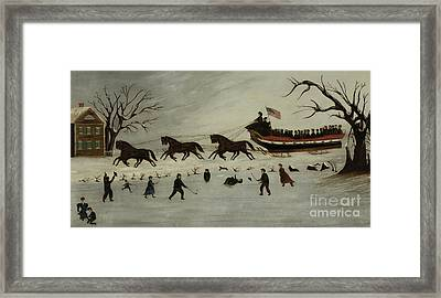 The Suffragettes Taking A Sleigh Ride Framed Print