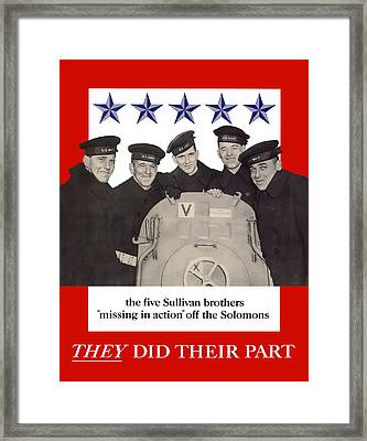 The Sullivan Brothers - They Did Their Part Framed Print