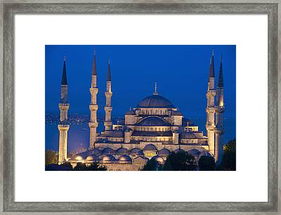 The Sultanahmet Or Blue Mosque At Dusk Framed Print by Axiom Photographic