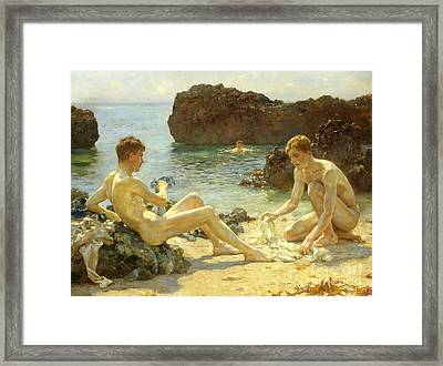 The Sun Bathers Framed Print by Henry Scott Tuke