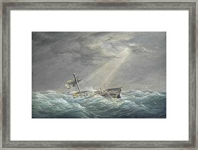 The Sun Breaking Through The Clouds After The Storm Framed Print